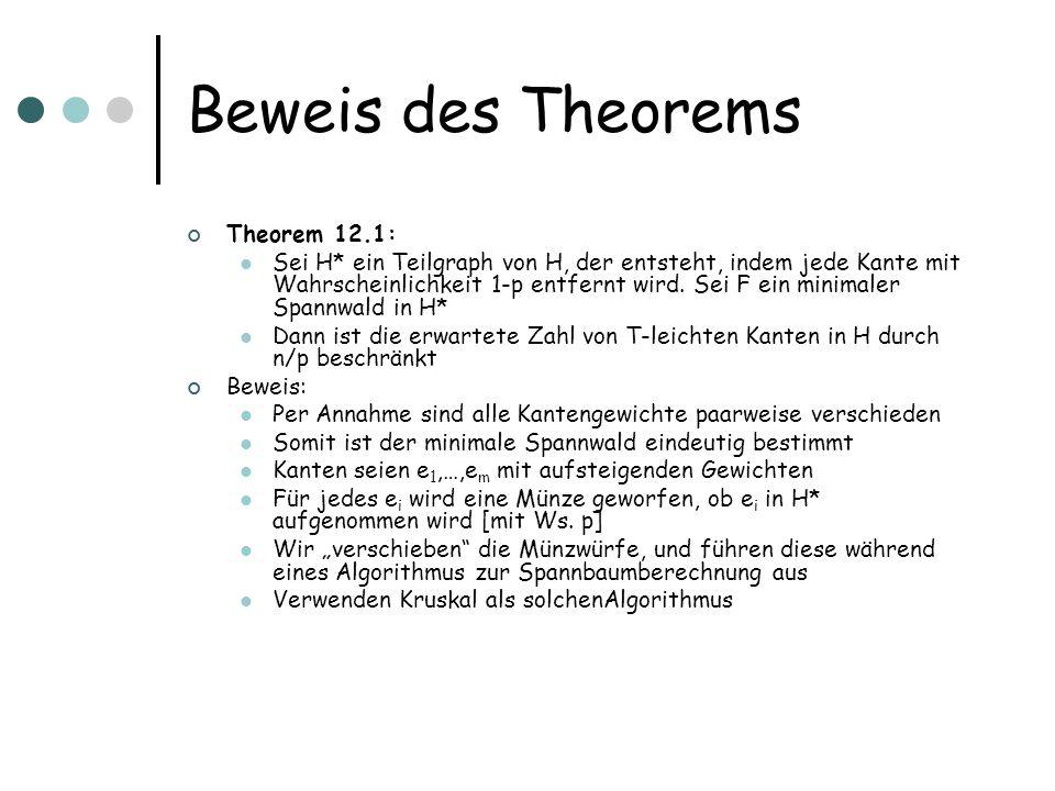 Beweis des Theorems Theorem 12.1: Sei H* ein Teilgraph von H, der entsteht, indem jede Kante mit Wahrscheinlichkeit 1-p entfernt wird.