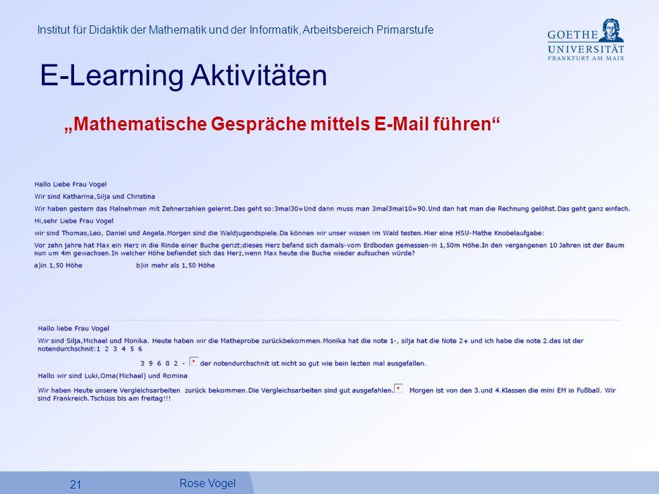 21 Rose Vogel Institut für Didaktik der Mathematik und der Informatik, Arbeitsbereich Primarstufe E-Learning Aktivitäten Mathematische Gespräche mittels E-Mail führen