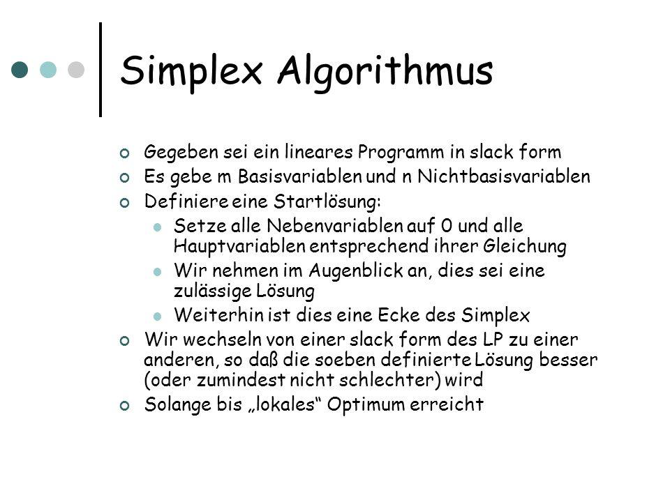 Simplex Algorithmus Gegeben sei ein lineares Programm in slack form Es gebe m Basisvariablen und n Nichtbasisvariablen Definiere eine Startlösung: Set