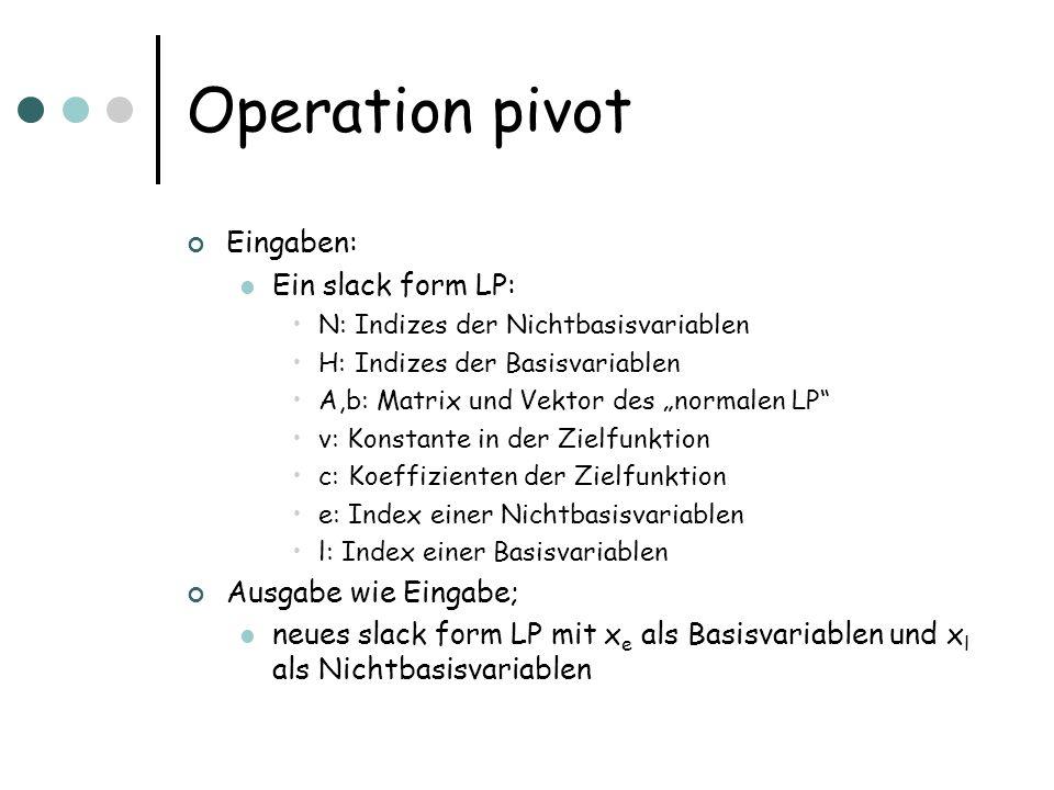 Operation pivot Eingaben: Ein slack form LP: N: Indizes der Nichtbasisvariablen H: Indizes der Basisvariablen A,b: Matrix und Vektor des normalen LP v