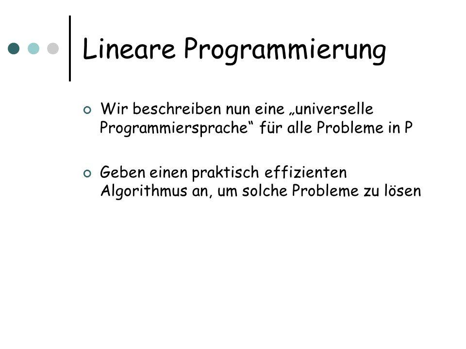 Lineare Programmierung Definition Ein Lineares Programm (LP) ist ein Optimierungsproblem über reellen Variablen x 1,…,x n Maximiert wird eine lineare Zielfunktion C(x)= i c i x i mit reellen Koeffizienten c i Zulässige Lösungen sind solche, die eine Menge von Ungleichungen erfüllen: Sei A eine m £ n Matrix mit reellen Koeffizienten Alle x mit Ax · b sind zulässig Gesucht wird eine zulässige Lösung mit maximaler Zielfunktion