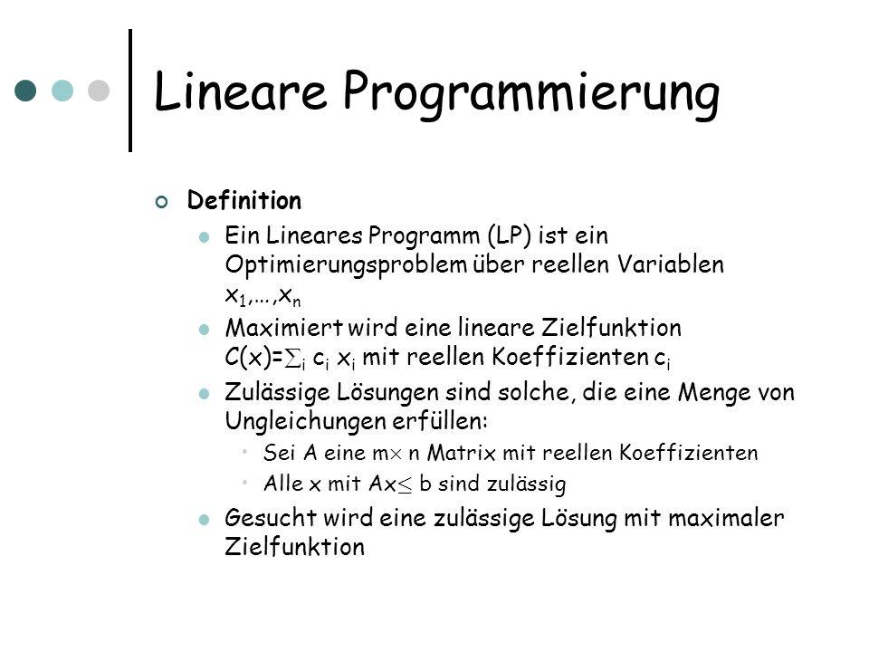 Lineare Programmierung Definition Ein Lineares Programm (LP) ist ein Optimierungsproblem über reellen Variablen x 1,…,x n Maximiert wird eine lineare