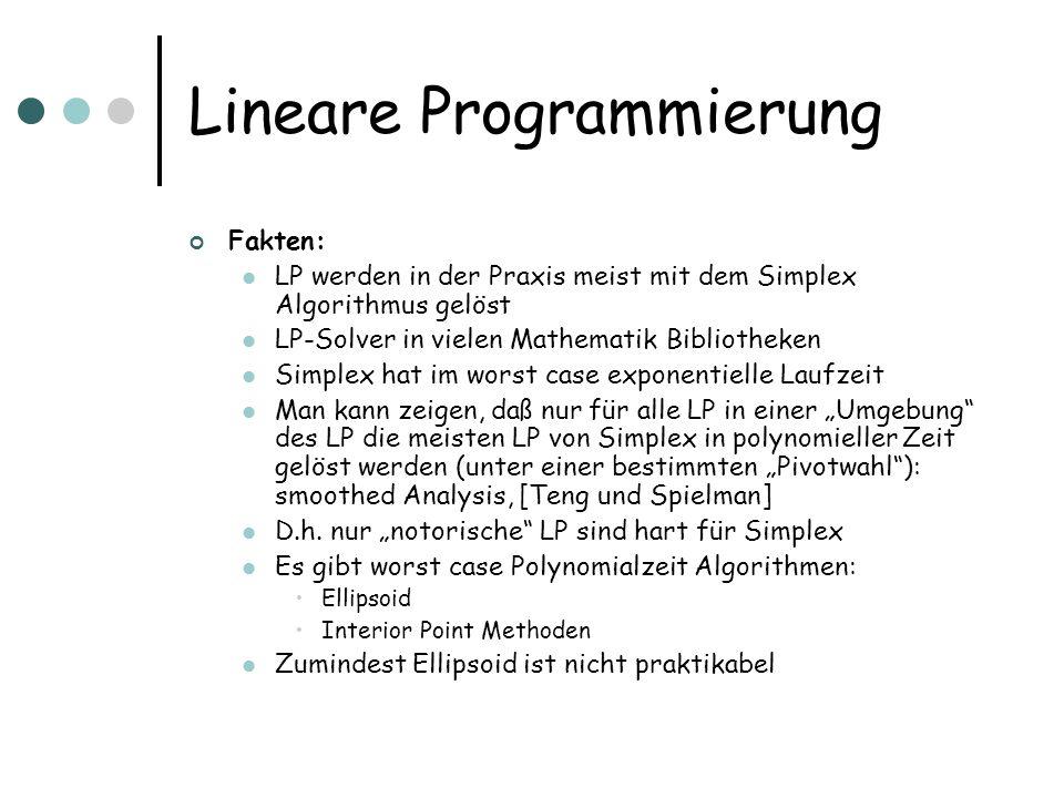 Lineare Programmierung Fakten: LP werden in der Praxis meist mit dem Simplex Algorithmus gelöst LP-Solver in vielen Mathematik Bibliotheken Simplex ha