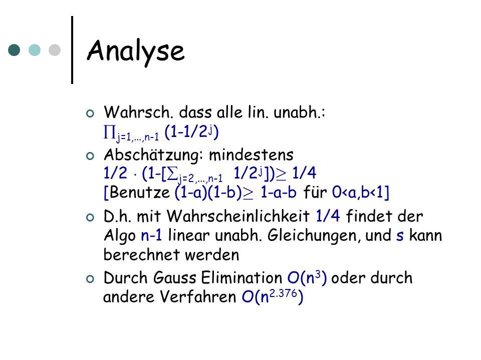 Analyse Wahrsch. dass alle lin.