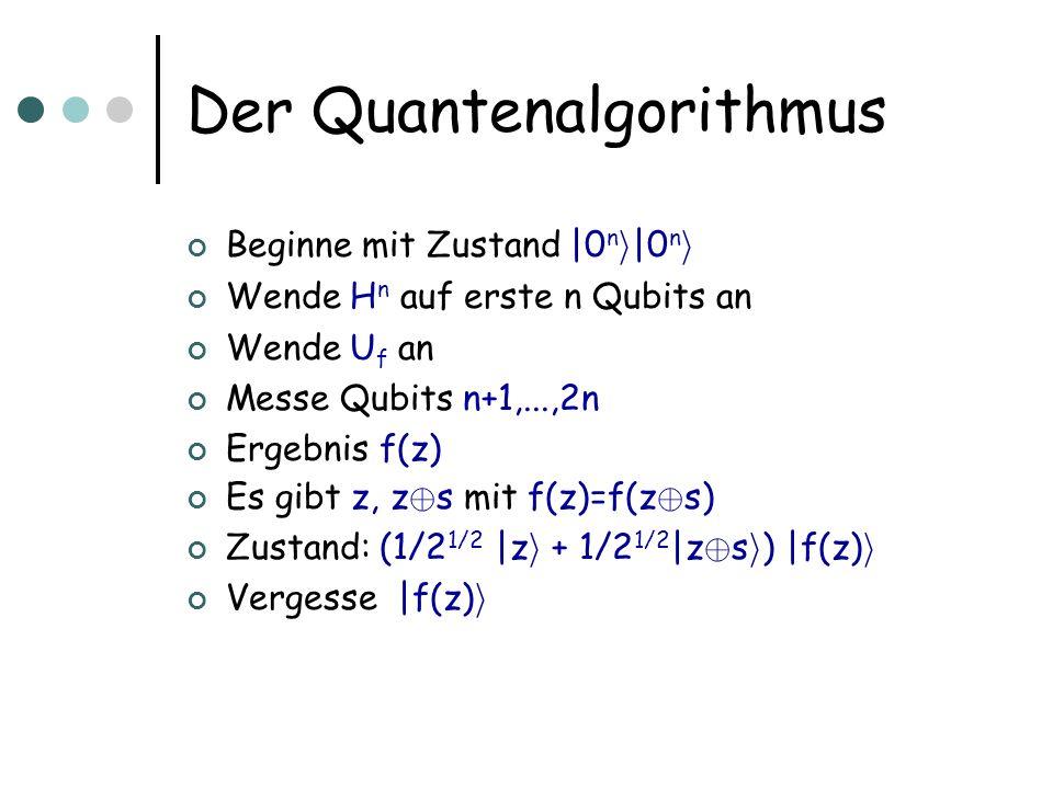 Der Quantenalgorithmus Beginne mit Zustand |0 n i |0 n i Wende H  n auf erste n Qubits an Wende U f an Messe Qubits n+1,...,2n Ergebnis f(z) Es gibt z, z © s mit f(z)=f(z © s) Zustand: (1/2 1/2 |z i + 1/2 1/2 |z © s i ) |f(z) i Vergesse |f(z) i