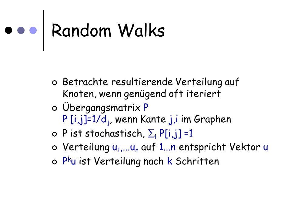 Random Walks Betrachte resultierende Verteilung auf Knoten, wenn genügend oft iteriert Übergangsmatrix P P [i,j]=1/d j, wenn Kante j,i im Graphen P ist stochastisch, i P[i,j] =1 Verteilung u 1,...u n auf 1...n entspricht Vektor u P k u ist Verteilung nach k Schritten