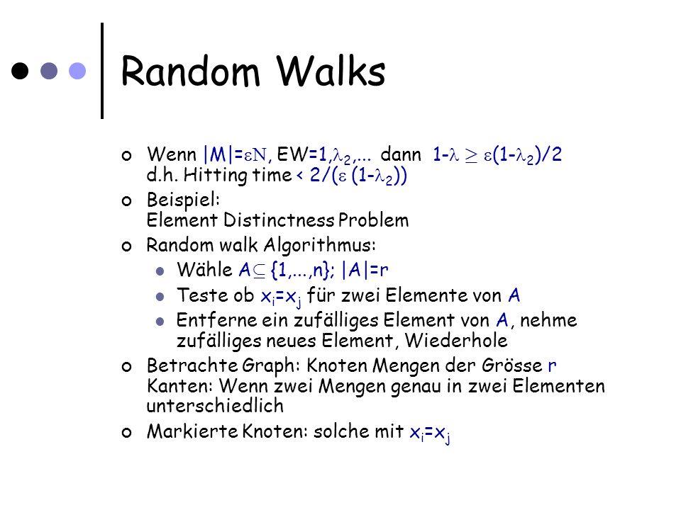 Random Walks Betrachte Graph: Knoten Mengen der Grösse r Kanten: Wenn zwei Mengen genau in zwei Elementen unterschiedlich Markierte Knoten: solche mit x i =x j Anzahl Knoten ist Wenn es x i =x j gibt, dann ist Anzahl markierter Knoten Damit: Zweitgrösster EW vom Graphen ist 1-1/r Wenn |M|= N, EW=1, 2,...