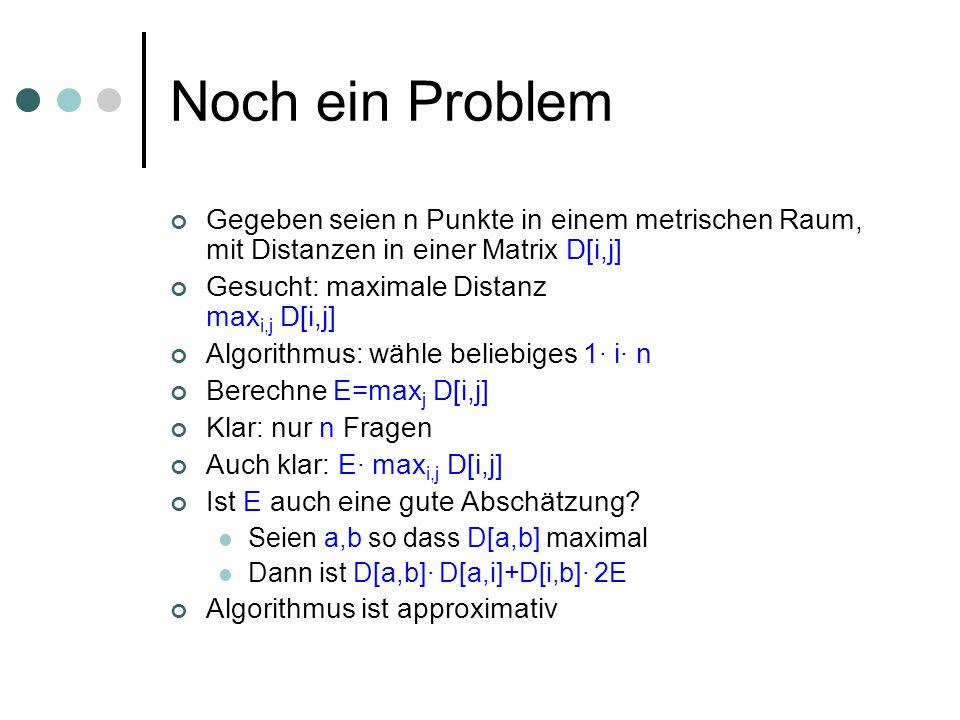 Noch ein Problem Gegeben seien n Punkte in einem metrischen Raum, mit Distanzen in einer Matrix D[i,j] Gesucht: maximale Distanz max i,j D[i,j] Algori