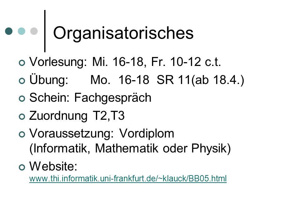 Organisatorisches Vorlesung: Mi. 16-18, Fr. 10-12 c.t. Übung: Mo. 16-18 SR 11(ab 18.4.) Schein: Fachgespräch Zuordnung T2,T3 Voraussetzung: Vordiplom