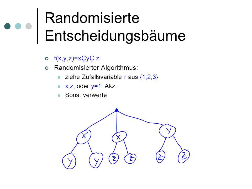 Randomisierte Entscheidungsbäume f(x,y,z)=xÇyÇ z Randomisierter Algorithmus: ziehe Zufallsvariable r aus {1,2,3} x,z, oder y=1: Akz. Sonst verwerfe