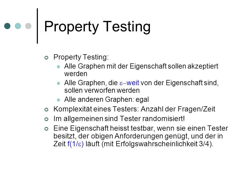Property Testing Property Testing: Alle Graphen mit der Eigenschaft sollen akzeptiert werden Alle Graphen, die weit von der Eigenschaft sind, sollen verworfen werden Alle anderen Graphen: egal Komplexität eines Testers: Anzahl der Fragen/Zeit Im allgemeinen sind Tester randomisiert.