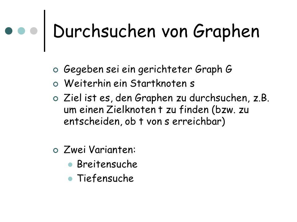 Durchsuchen von Graphen Gegeben sei ein gerichteter Graph G Weiterhin ein Startknoten s Ziel ist es, den Graphen zu durchsuchen, z.B. um einen Zielkno