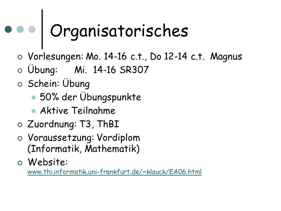 Organisatorisches Vorlesungen: Mo. 14-16 c.t., Do 12-14 c.t. Magnus Übung: Mi. 14-16 SR307 Schein: Übung 50% der Übungspunkte Aktive Teilnahme Zuordnu