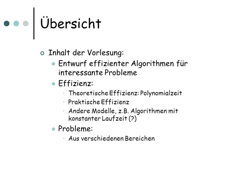 Übersicht Inhalt der Vorlesung: Entwurf effizienter Algorithmen für interessante Probleme Effizienz: Theoretische Effizienz: Polynomialzeit Praktische