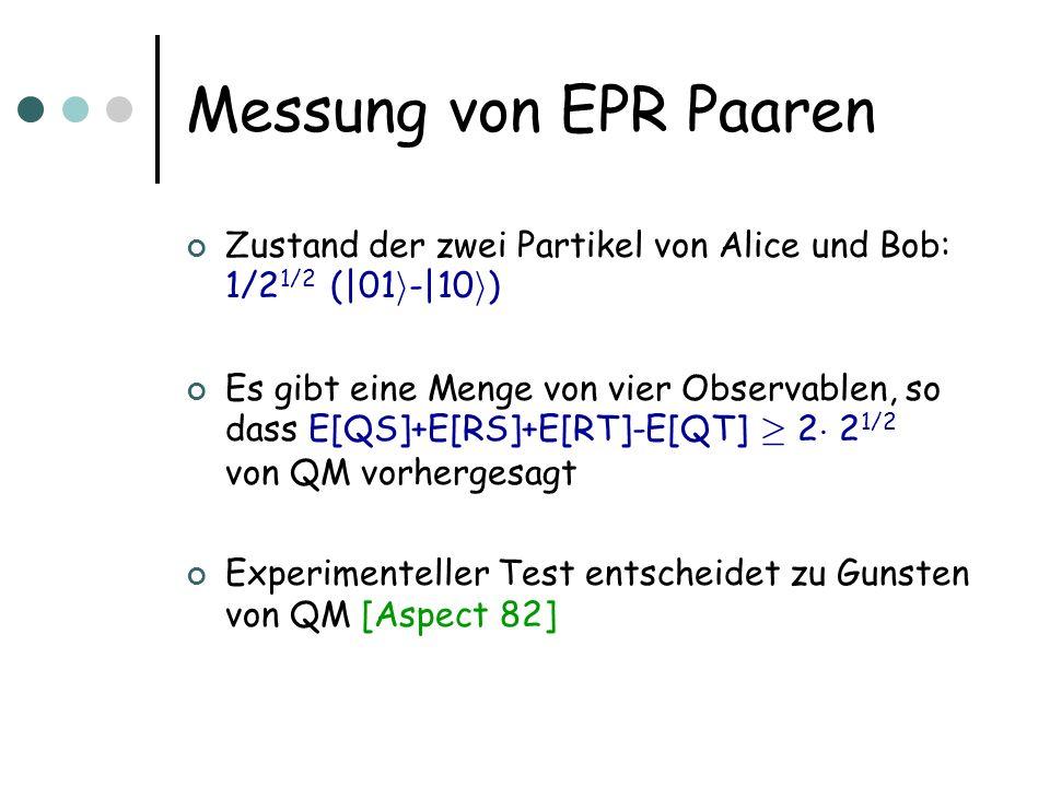 Messung von EPR Paaren Zustand der zwei Partikel von Alice und Bob: 1/2 1/2 (|01 i -|10 i ) Es gibt eine Menge von vier Observablen, so dass E[QS]+E[R