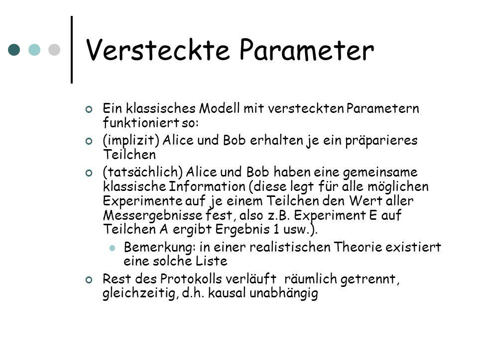 Versteckte Parameter Ein klassisches Modell mit versteckten Parametern funktioniert so: (implizit) Alice und Bob erhalten je ein präparieres Teilchen