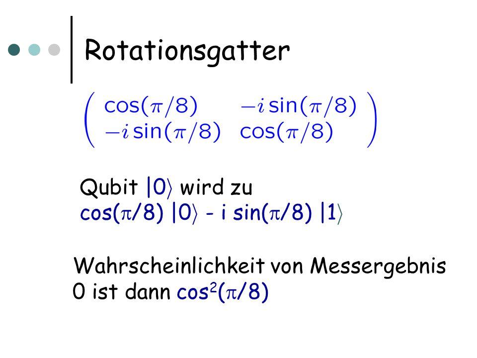 Rotationsgatter Qubit |0 i wird zu cos( /8) |0 i - i sin( /8) |1 i Wahrscheinlichkeit von Messergebnis 0 ist dann cos 2 ( /8)