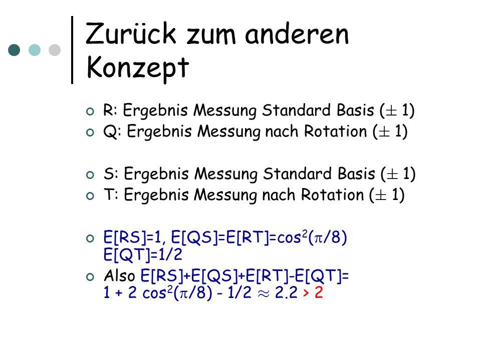 Zurück zum anderen Konzept R: Ergebnis Messung Standard Basis ( § 1) Q: Ergebnis Messung nach Rotation ( § 1) S: Ergebnis Messung Standard Basis ( § 1