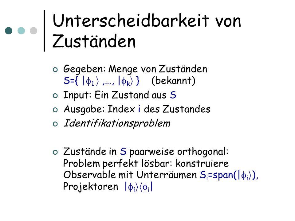 Unterscheidbarkeit von Zuständen Gegeben: Menge von Zuständen S={ | 1 i,…, | k i } (bekannt) Input: Ein Zustand aus S Ausgabe: Index i des Zustandes I