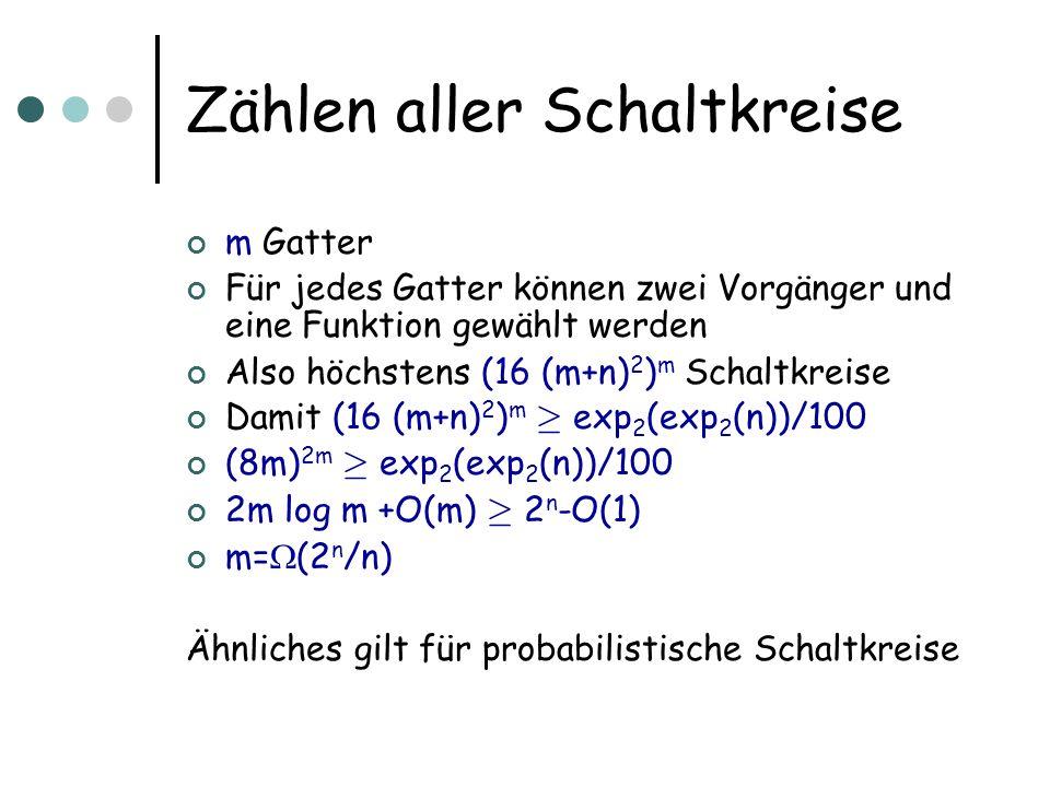 Zählen aller Schaltkreise m Gatter Für jedes Gatter können zwei Vorgänger und eine Funktion gewählt werden Also höchstens (16 (m+n) 2 ) m Schaltkreise