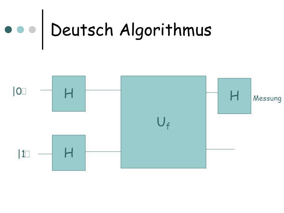 Deutsch Algorithmus H UfUf H |0 i |1 i Messung H