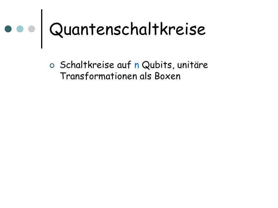 Quantenschaltkreise Schaltkreise auf n Qubits, unitäre Transformationen als Boxen