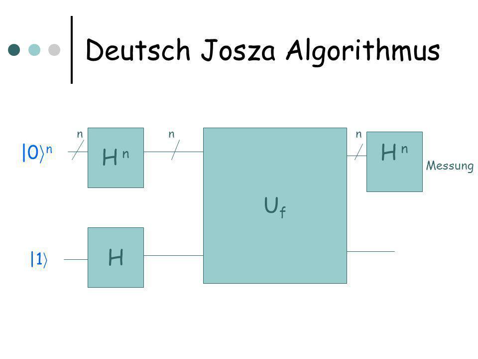 Deutsch Josza Algorithmus H UfUf H  n |0 i n |1 i Messung H  n nnn
