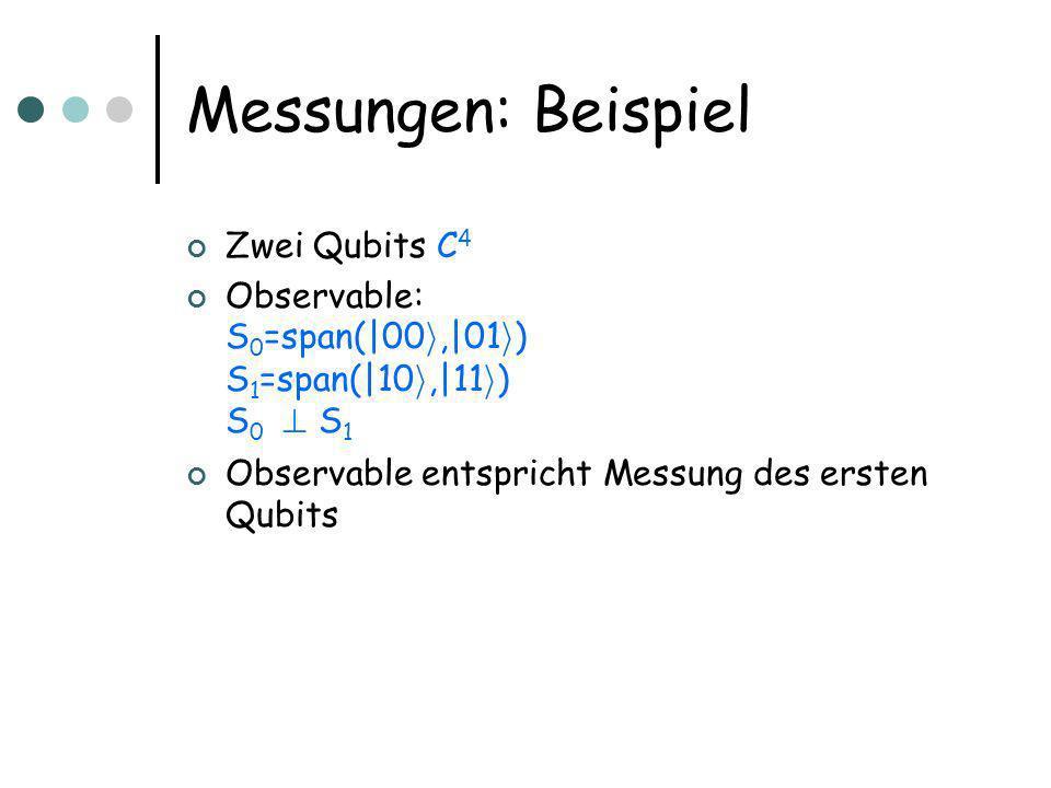 Messungen: Beispiel Zwei Qubits C 4 Observable: S 0 =span(|00 i,|01 i ) S 1 =span(|10 i,|11 i ) S 0 .