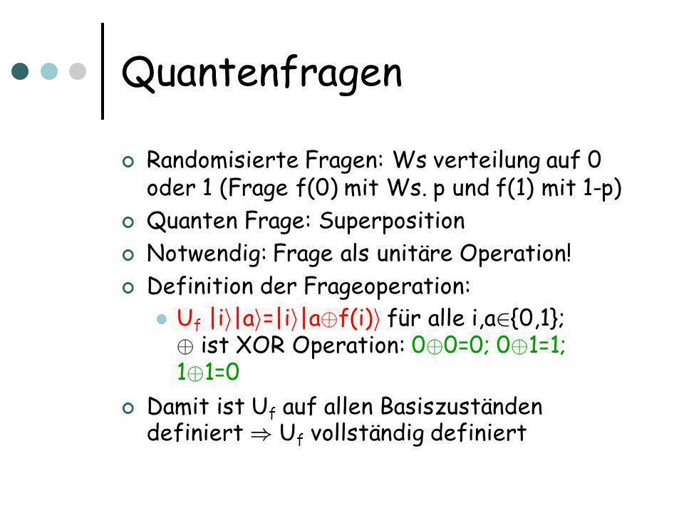 Messung EPR-Paar Zustand 1/2 1/2 ¢ (|00 i +|11 i ) Messe erstes Qubit Resultat: Wenn 0 gemessen wird, kollabiert Zustand zu |00 i Wenn 1 gemessen wird |11 i Jeder Fall mit Ws.