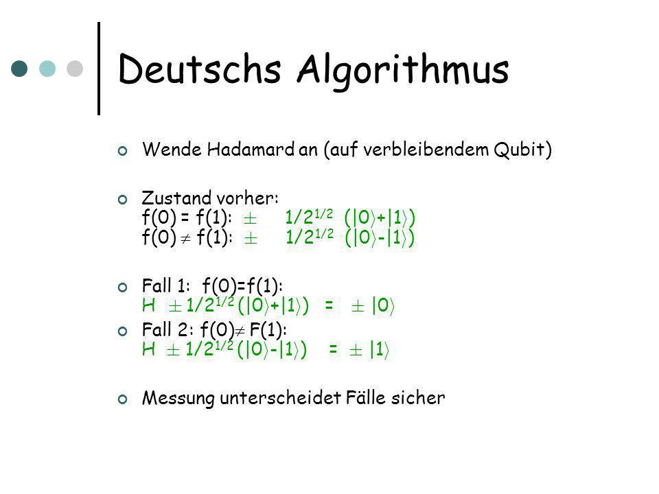 Deutschs Algorithmus Wende Hadamard an (auf verbleibendem Qubit) Zustand vorher: f(0) = f(1): § 1/2 1/2 (|0 i +|1 i ) f(0) f(1): § 1/2 1/2 (|0 i -|1 i ) Fall 1: f(0)=f(1): H § 1/2 1/2 (|0 i +|1 i ) = § |0 i Fall 2: f(0) F(1): H § 1/2 1/2 (|0 i -|1 i ) = § |1 i Messung unterscheidet Fälle sicher