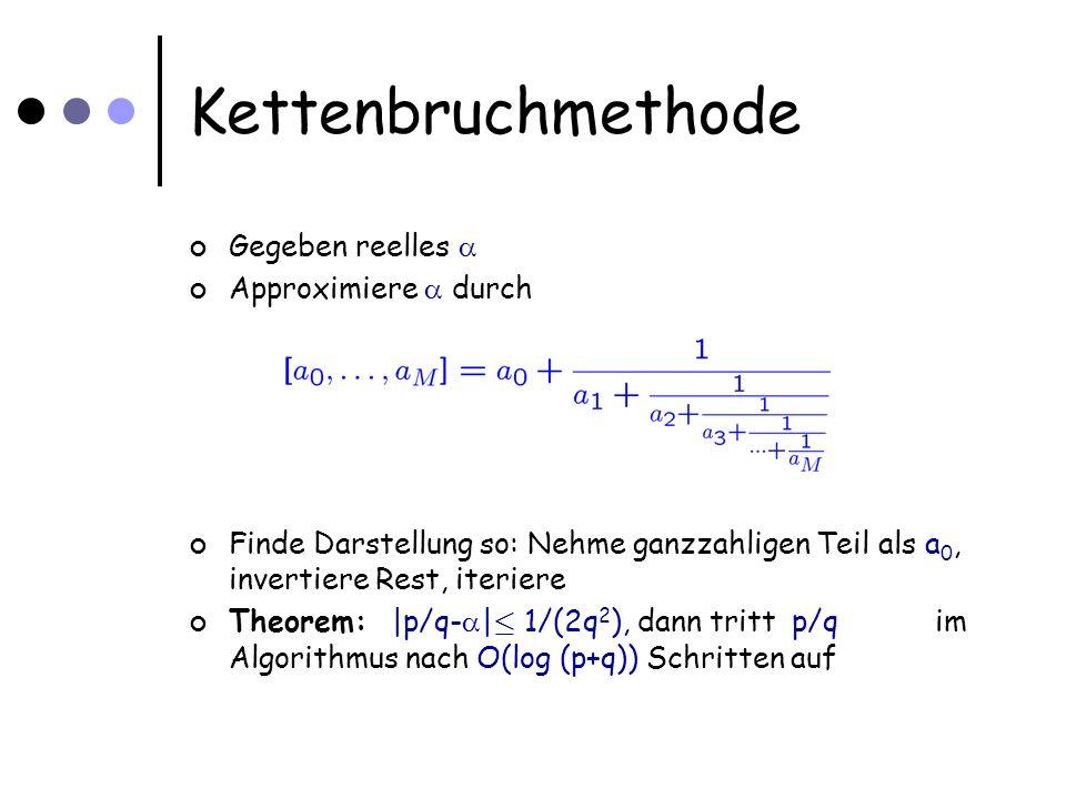 Kettenbruchmethode Gegeben reelles Approximiere durch Finde Darstellung so: Nehme ganzzahligen Teil als a 0, invertiere Rest, iteriere Theorem: |p/q- | · 1/(2q 2 ), dann tritt p/qim Algorithmus nach O(log (p+q)) Schritten auf