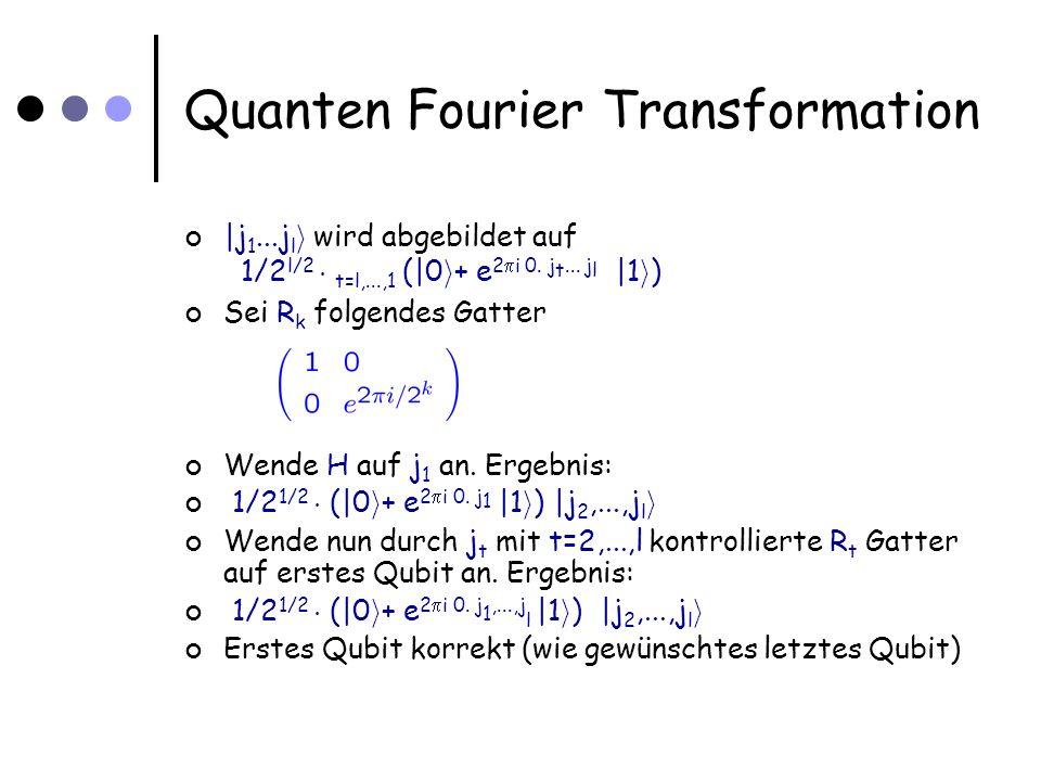 Quanten Fourier Transformation Bis auf Vertauschungen von Qubits vollständig; Anzahl der Gatter: l+(l-1)+ +1=O(l 2 )=O(log 2 L)