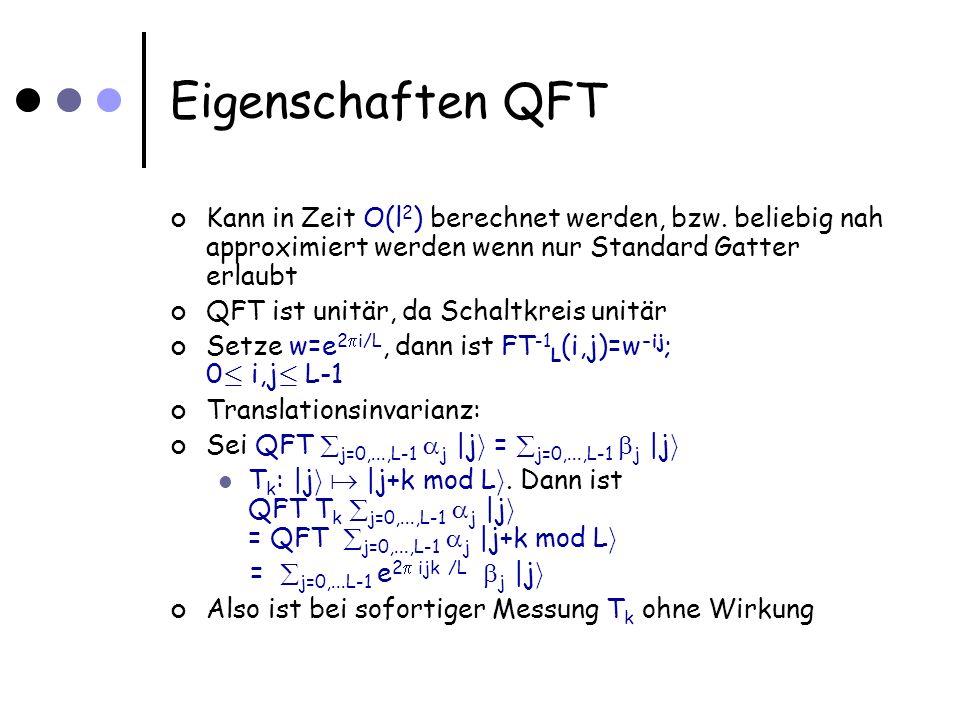 Phase Estimation Problem: Gegeben für unitären Operator U, Potenzen U j als Black Box; j=1,2,4,8,...,2 t-1 Ausserdem gegeben: Eigenvektor |u i von U Gesucht: Eigenwert e 2 i, d.h.