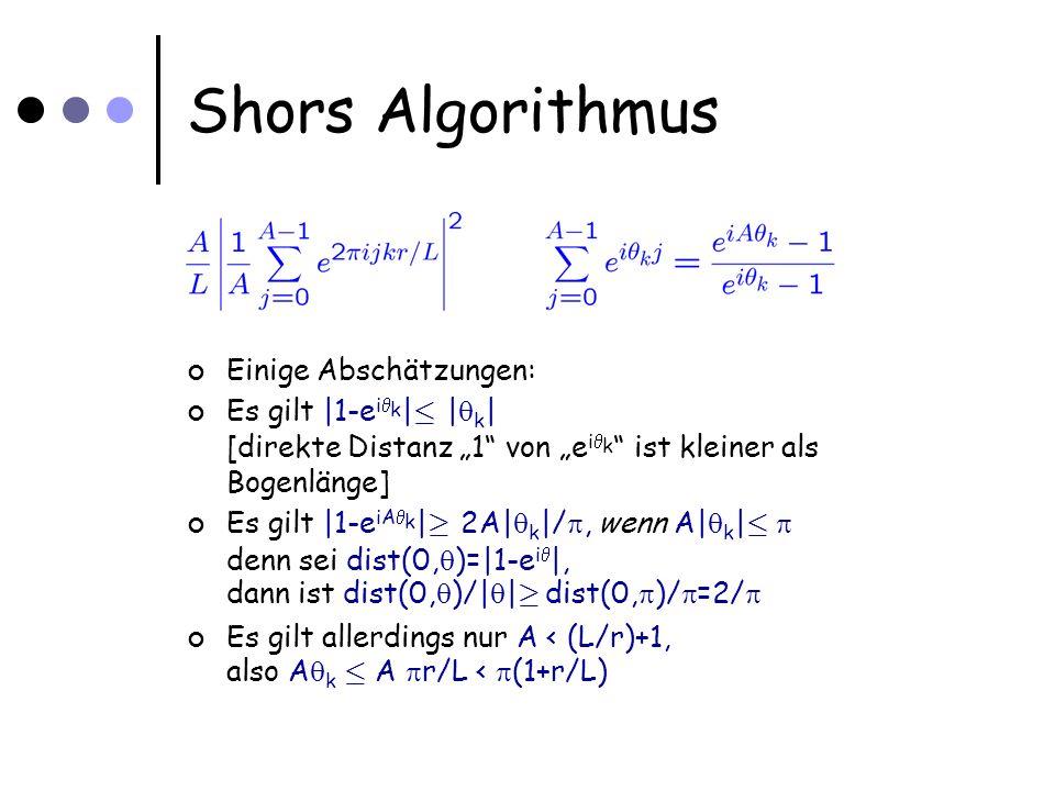 Shors Algorithmus Einige Abschätzungen: Es gilt |1-e i k | · | k | [direkte Distanz 1 von e i k ist kleiner als Bogenlänge] Es gilt |1-e iA k | ¸ 2A| k |/, wenn A| k | · denn sei dist(0, )=|1-e i |, dann ist dist(0, )/| | ¸ dist(0, )/ =2/ Es gilt allerdings nur A < (L/r)+1, also A k · A r/L < (1+r/L)