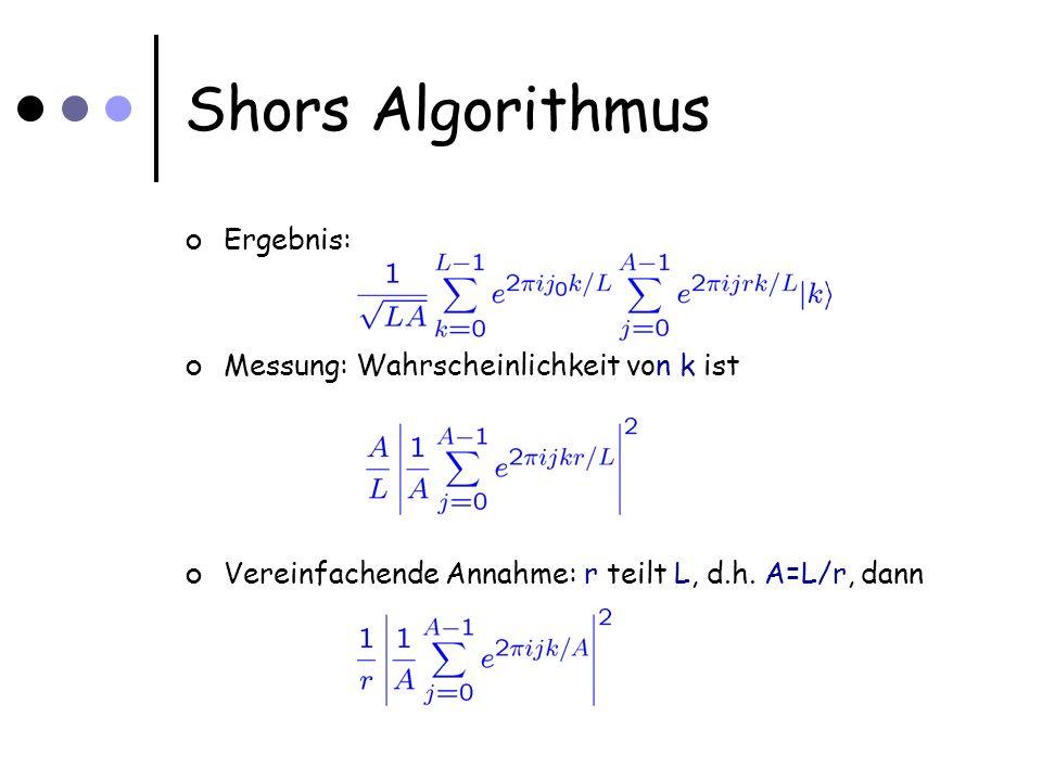 Shors Algorithmus Ergebnis: Messung: Wahrscheinlichkeit von k ist Vereinfachende Annahme: r teilt L, d.h.