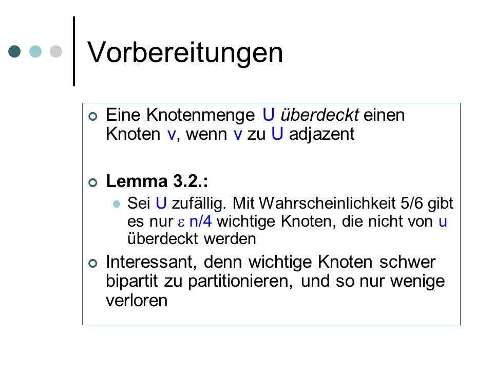 Vorbereitungen Eine Knotenmenge U überdeckt einen Knoten v, wenn v zu U adjazent Lemma 3.2.: Sei U zufällig. Mit Wahrscheinlichkeit 5/6 gibt es nur n/
