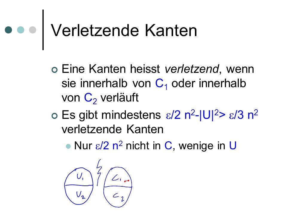 Verletzende Kanten Eine Kanten heisst verletzend, wenn sie innerhalb von C 1 oder innerhalb von C 2 verläuft Es gibt mindestens /2 n 2 -|U| 2 > /3 n 2 verletzende Kanten Nur /2 n 2 nicht in C, wenige in U