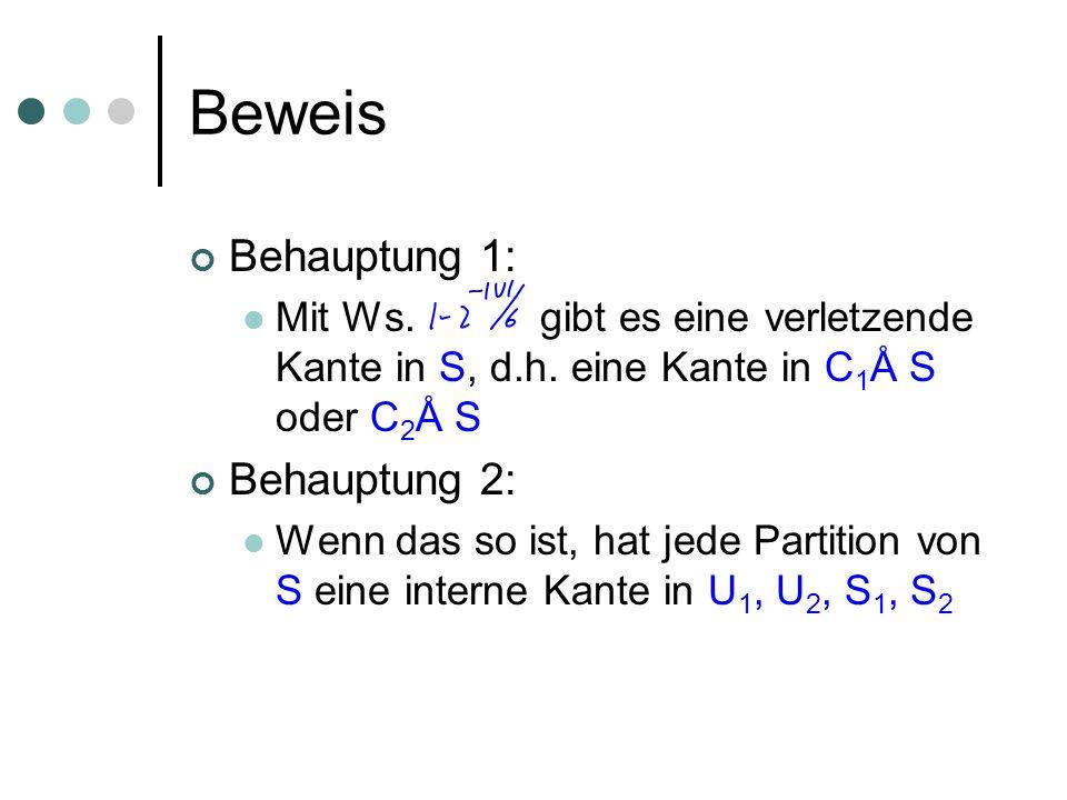 Beweis Behauptung 1: Mit Ws. gibt es eine verletzende Kante in S, d.h. eine Kante in C 1 Å S oder C 2 Å S Behauptung 2: Wenn das so ist, hat jede Part
