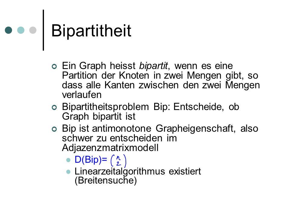 Bipartitheit Ein Graph heisst bipartit, wenn es eine Partition der Knoten in zwei Mengen gibt, so dass alle Kanten zwischen den zwei Mengen verlaufen Bipartitheitsproblem Bip: Entscheide, ob Graph bipartit ist Bip ist antimonotone Grapheigenschaft, also schwer zu entscheiden im Adjazenzmatrixmodell D(Bip)= Linearzeitalgorithmus existiert (Breitensuche)