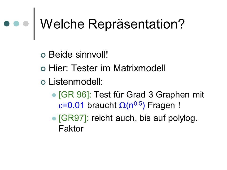 Welche Repräsentation? Beide sinnvoll! Hier: Tester im Matrixmodell Listenmodell: [GR 96]: Test für Grad 3 Graphen mit =0.01 braucht (n 0.5 ) Fragen !