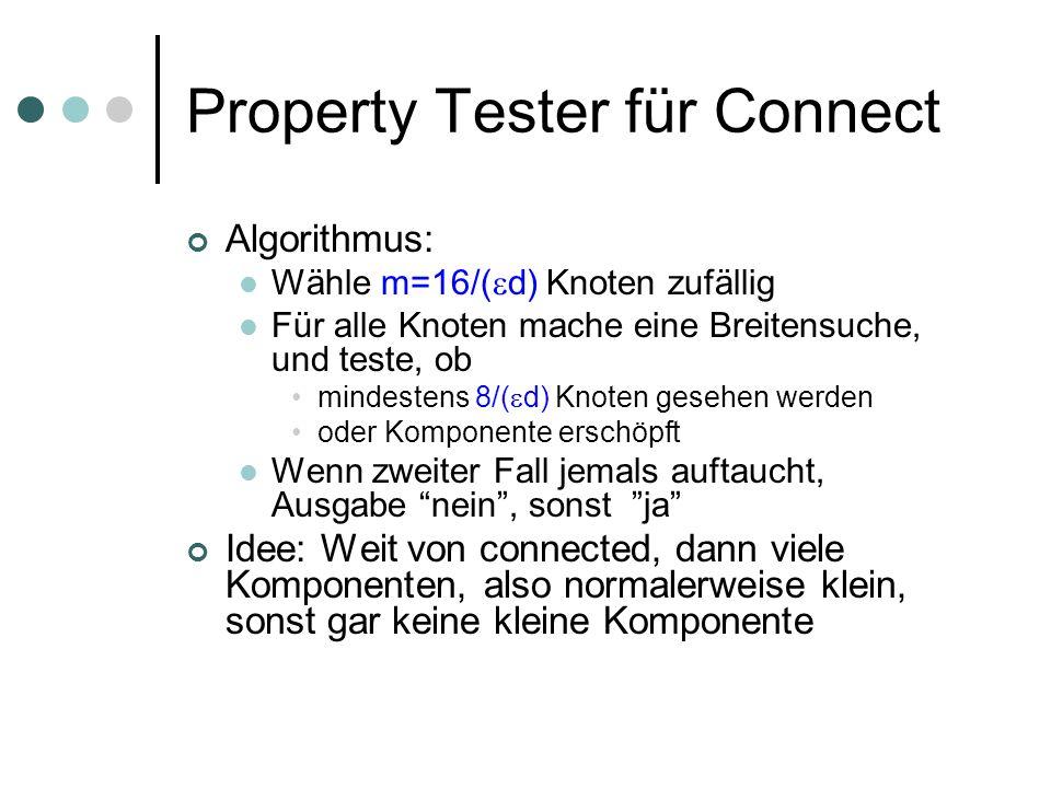 Property Tester für Connect Algorithmus: Wähle m=16/( d) Knoten zufällig Für alle Knoten mache eine Breitensuche, und teste, ob mindestens 8/( d) Knot