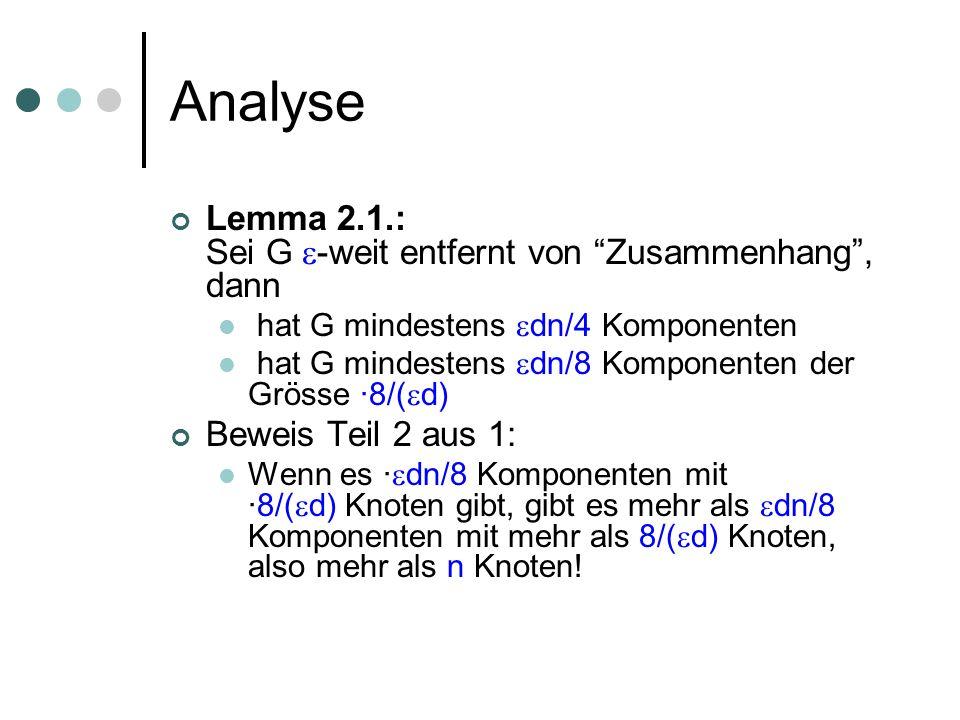 Analyse Lemma 2.1.: Sei G -weit entfernt von Zusammenhang, dann hat G mindestens dn/4 Komponenten hat G mindestens dn/8 Komponenten der Grösse ·8/( d)