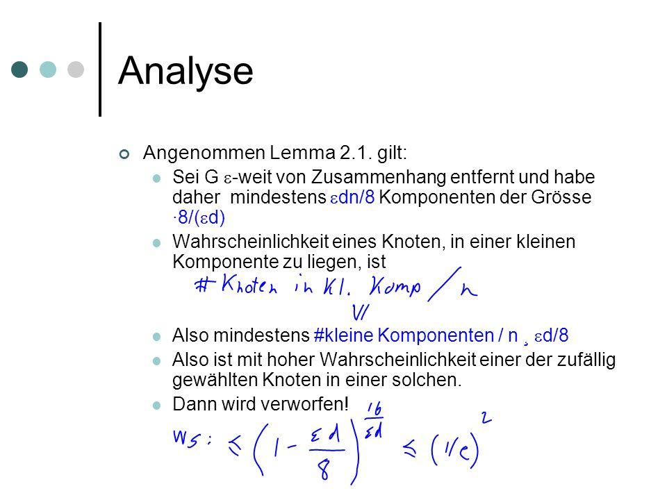Analyse Angenommen Lemma 2.1. gilt: Sei G -weit von Zusammenhang entfernt und habe daher mindestens dn/8 Komponenten der Grösse ·8/( d) Wahrscheinlich