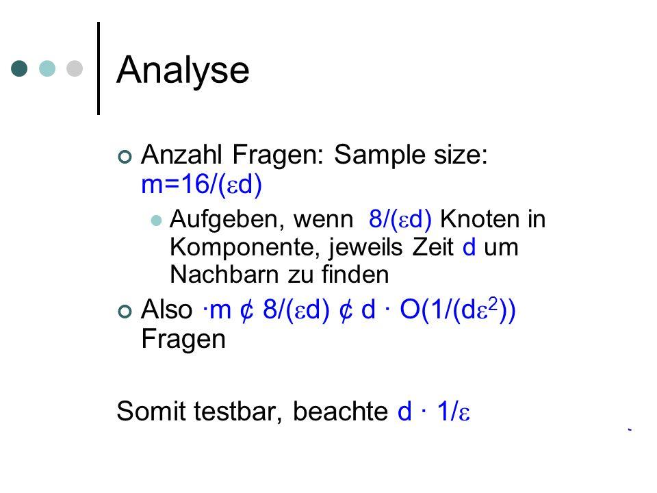 Analyse Anzahl Fragen: Sample size: m=16/( d) Aufgeben, wenn 8/( d) Knoten in Komponente, jeweils Zeit d um Nachbarn zu finden Also ·m ¢ 8/( d) ¢ d ·