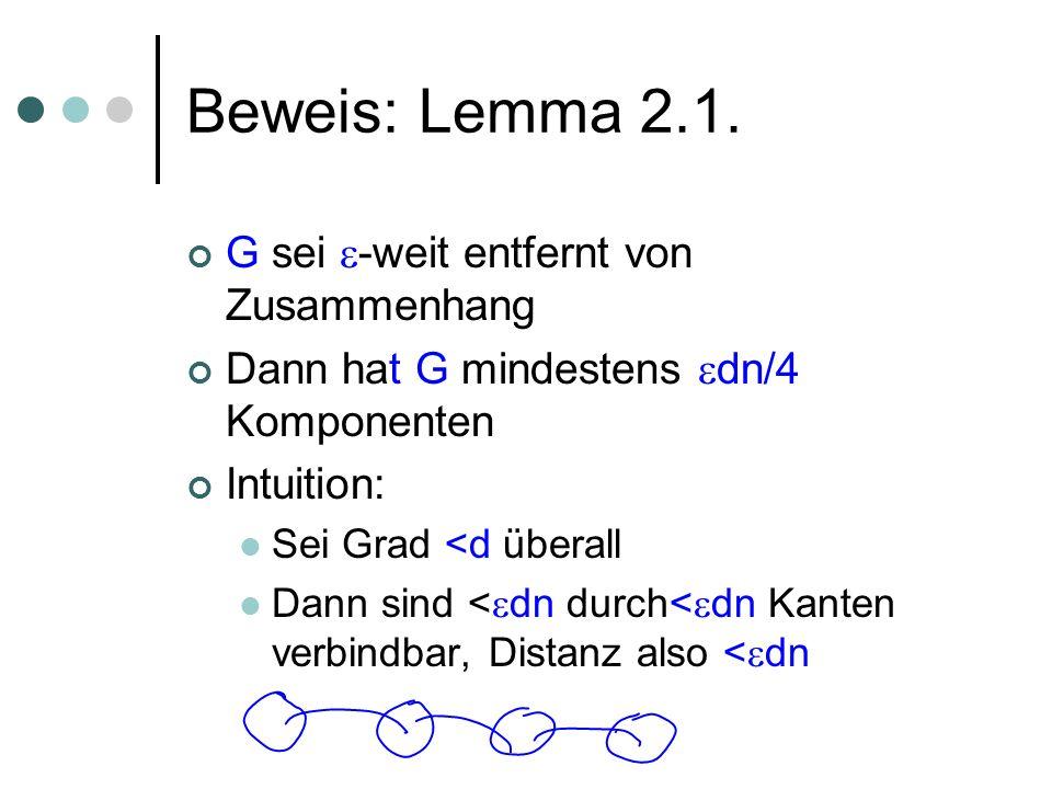 Beweis: Lemma 2.1. G sei -weit entfernt von Zusammenhang Dann hat G mindestens dn/4 Komponenten Intuition: Sei Grad <d überall Dann sind < dn durch< d