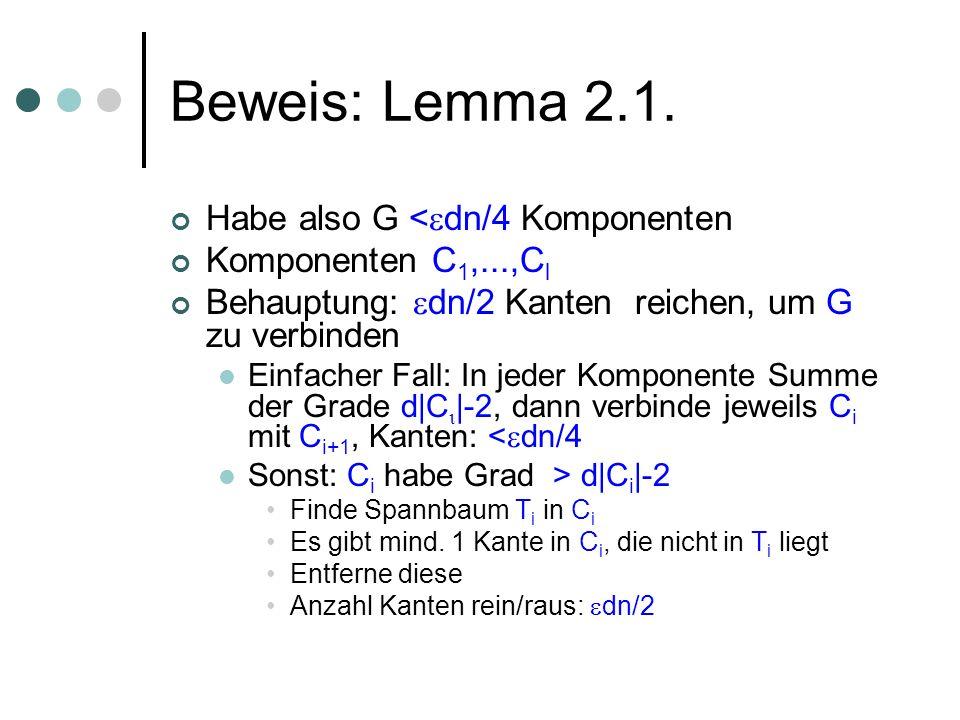 Beweis: Lemma 2.1. Habe also G < dn/4 Komponenten Komponenten C 1,...,C l Behauptung: dn/2 Kanten reichen, um G zu verbinden Einfacher Fall: In jeder