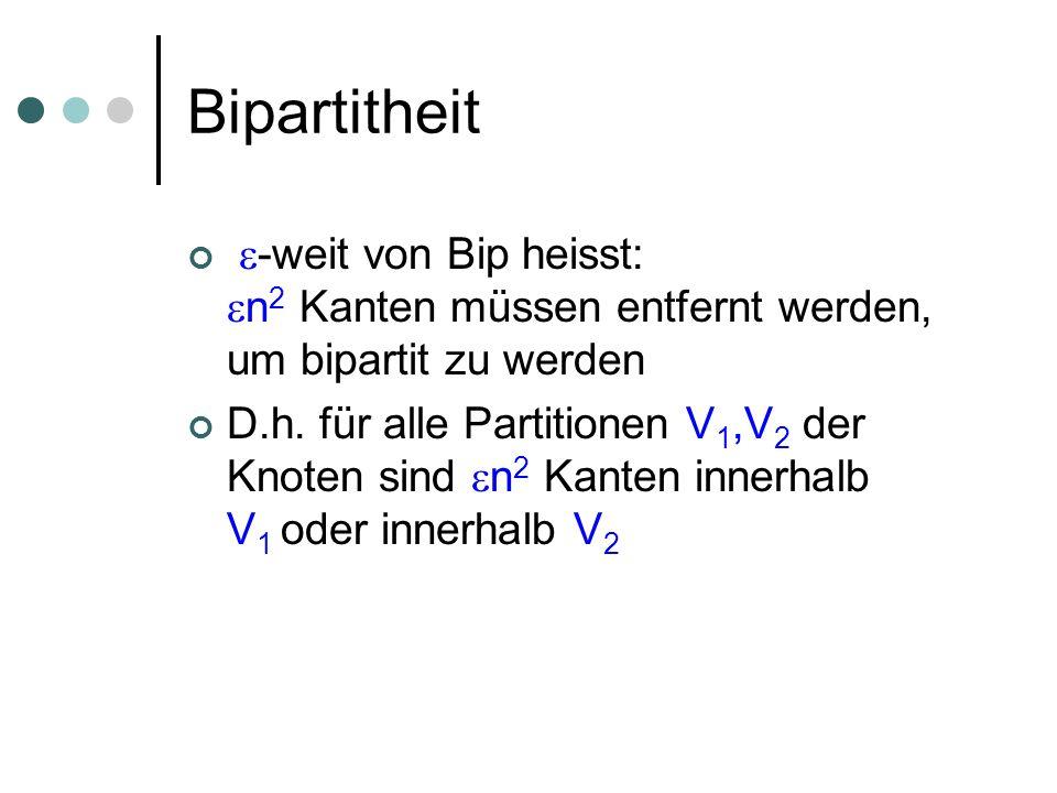 Bipartitheit -weit von Bip heisst: n 2 Kanten müssen entfernt werden, um bipartit zu werden D.h. für alle Partitionen V 1,V 2 der Knoten sind n 2 Kant