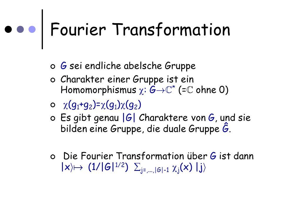 Fourier Transformation G sei endliche abelsche Gruppe Charakter einer Gruppe ist ein Homomorphismus : G .