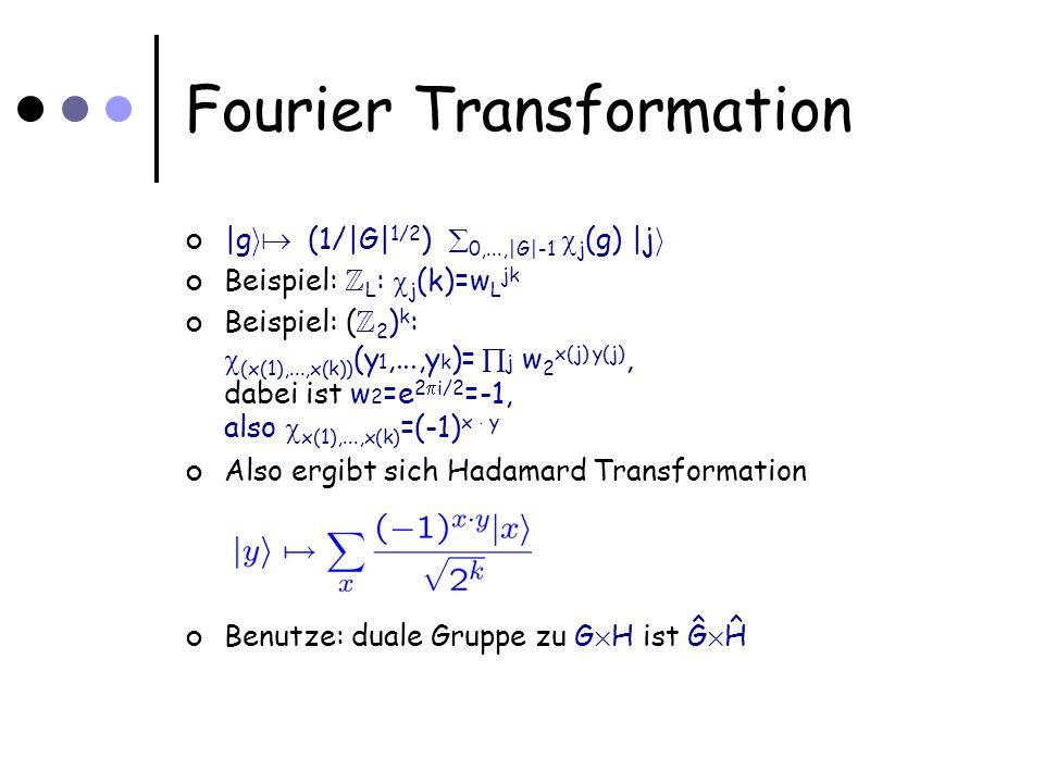 Fourier Transformation |g i (1/|G| 1/2 ) 0,...,|G|-1 j (g) |j i Beispiel: Z L : j (k)=w L jk Beispiel: ( Z 2 ) k : (x(1),...,x(k)) (y 1,...,y k )= j w 2 x(j) y(j), dabei ist w 2 =e 2 i/2 =-1, also x(1),...,x(k) =(-1) x ¢ y Also ergibt sich Hadamard Transformation Benutze: duale Gruppe zu G £ H ist Ĝ £ Ĥ
