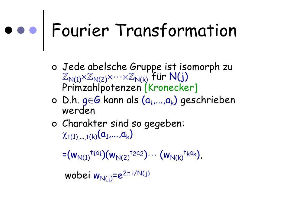 Fourier Transformation Jede abelsche Gruppe ist isomorph zu Z N(1) £ Z N(2) £ £ Z N(k) für N(j) Primzahlpotenzen [Kronecker] D.h.